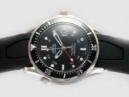 Fake Gorgeous Omega Seamaster GMT Working Automatisk Med Sorte R