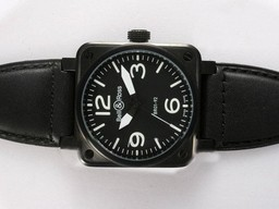 Fake Cool Bell & Ross BR 01-92 Automatic PVD Casing with White Marking 38x38mm AAA Watches [M5B7]