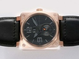 Fake Cool Bell & Ross BR 01 Two Time Zone Automatic Rose Gold Case AAA Watches [B4U7]
