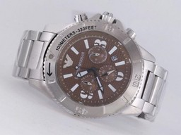Fake Fancy Emporio Armani Working Chronograph with Brown Dial AAA Watches [N6N3]