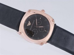 Fake Great Emporio Armani Chronograph Rose Gold Case with Black Dial AAA Watches [A2O4]
