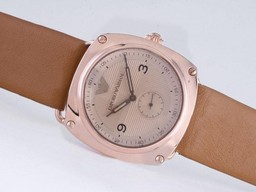 Fake Modern Emporio Armani Rose Gold Case with Champagne Dial AAA Watches [P2E5]