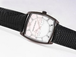Fake Perfect Emporio Armani Chronograph PVD Case with White Dial AAA Watches [Q2X4]