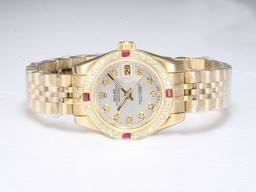 Fake Cool Rolex DateJust Automatic Full Gold Diamond Marking and Bezel AAA Watches [X3I7]