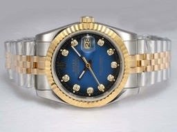 Fake Cool Rolex DateJust Automatic Two Tone with Blue Dial AAA Watches [Q7C3]