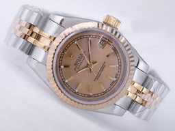 Fake Cool Rolex Datejust Movement Two Tone with Golden Dial AAA Watches [D8H8]