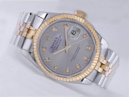 Fake Cool Rolex Datejust Movement Two Tone with Gray Dial AAA Watches [I3X5]