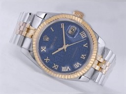 Fake Cool Rolex Datejust Movement Two Tone with Blue Computer Marking AAA Watches [F3M3]