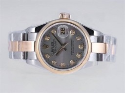 Fake Cool Rolex Datejust Movement Two Tone Diamond Marking AAA Watches [O6W5]