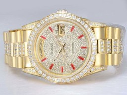 Fake Gorgeous Rolex Day-Date Automatic Full Gold with Diamond Bezel and Dial AAA Watches [D5E6]