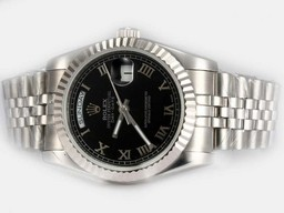 Fake Gorgeous Rolex Day-Date Automatic with Black Dial-Roman Marking AAA Watches [N2L7]