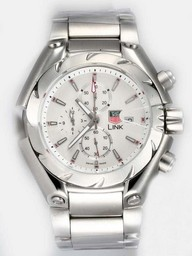 Fake Fancy Tag Heuer Link Working Chronograph with White Dial AAA Watches [A3P4]