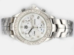 Fake Fancy Tag Heuer Monaco quartz with White Dial-Rubber Strap AAA Watches [S8L6]