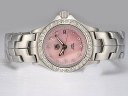 Fake Gorgeous Tag Heuer Link 200 Meters Diamond Bezel and Marking with Pink Dial AAA Watches [P6A2]