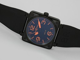 Fake Cool Bell & Ross BR 01-92 Automatic PVD Casing with Orange Marking-Rubber Strap AAA Watches [F9F6]