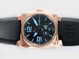 Fake Cool Bell & Ross BR01 Two Time Zone Automatic Rose Gold Case AAA Watches [E2K4]