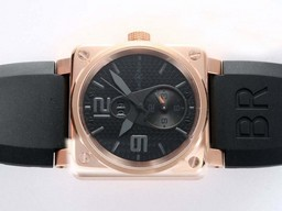 Amp ; amp falso Great Bell & ; Ross BR01 due fuso orario automatico in oro rosa , causa AAA Orologi [ Q3J5 ]