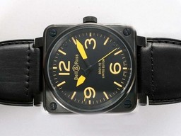 Fake Bell & amp moderna ; amp ; Ross BR 01-92 Automático PVD Caso Con Negro Dial- marca amarilla AAA relojes [ D8J1 ]