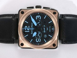 Fake Bell & amp moderna ; amp ; Ross BR 01-94 Trabajo Chronograph PVD Carcasa con bisel de oro AAA relojes [ C7V2 ]
