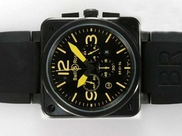 Fake Bell & amp moderna ; amp ; Ross BR 01-94 Trabajo Chronograph PVD Carcasa Con Yellow Dial Relojes AAA [ G5R6 ]