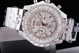 Fake Fancy Breitling Bentley 6.75 Big Date Automatisk Rörelse Silver Case AAA klockor [ T4M4 ]