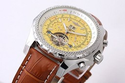 Fake Perfect Breitling for Bentley Tourbillon Chronograph Automatic with Yellow Dial AAA Watches [F5H7]