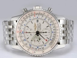 Fake Quintessential Breitling Navitimer World Movement with White Dial AAA Watches [G2U6]
