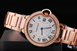 Fake Cool Cartier Ballon Bleu de Cartier Full Rose Gold with Diamond Bezel AAA Watches [U8N3]