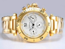 Fake Cool Cartier Pasha Chronograph Automatic Full Gold with White Dial AAA Watches [G2B6]