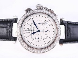 Fake Cool Cartier Pasha Working Chronograph Diamond Bezel with White Dial AAA Watches [D4X5]
