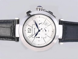 Fake Cool Cartier Pasha Working Chronograph with White Dial AAA Watches [U9B8]