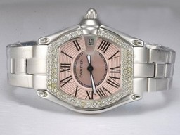 Fake Cool Cartier Roadster Diamond Bezel with Pink Dial Lady Size AAA Watches [F4J1]