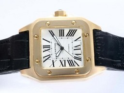 Fake Cool Cartier Santos 100 Automatic Gold Case with White Dial AAA Watches [G7U5]