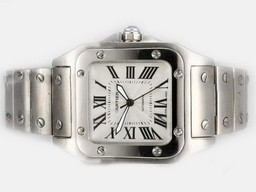 Fake Cool Cartier Santos 100 Automatic with White Dial-Medium Size 34MM AAA Watches [K3N4]