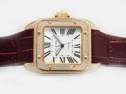 Fake Cool Cartier Santos 100 Movement With Gold Case Diamond AAA Watches [R2O4]
