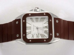Fake Cool Cartier Santos 100 White Dial with Brown Bezel and Rubber Strap AAA Watches [H1O4]