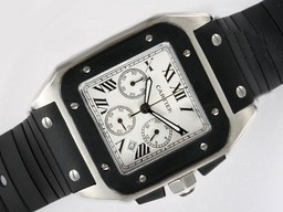 Fake Cool Cartier Santos 100 Working Chronograph White Dial with Rubber Strap AAA Watches [L6R8]