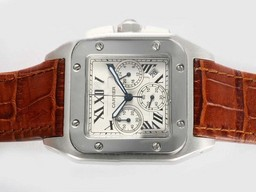 Fake Cool Cartier Santos 100 Working Chronograph with White Dial AAA Watches [J9E2]