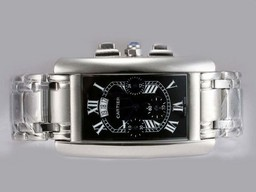 Fake Cool Cartier Tank Americaine Working Chronograph with Black Dial AAA Watches [T2H6]