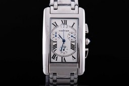 Fake Cool Cartier Tank Americaine Working Chronograph Quartz Movement AAA Watches [L7I1]