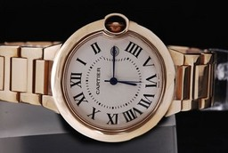 Fake Fancy Cartier Ballon Bleu de Cartier Automatic with white dial- gold case AAA Watches [B5P7]