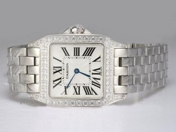 Fake Fancy Cartier Montre Santos Demoiselle Diamond Bezel with White Dial AAA Watches [H7F3]