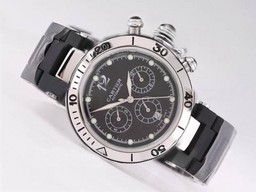 Fake Fancy Cartier Pasha Seatimer Chronograph Automatic met zwarte wijzerplaat AAA Horloges [ P9X7 ]