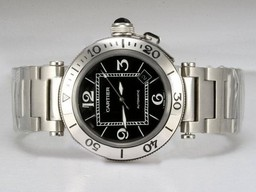Fake Fancy Cartier Pasha Seatimer met zwarte wijzerplaat AAA Horloges [ M9D2 ]