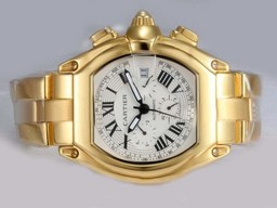 Fake Fancy Cartier Roadster Chronograph Automatic Full Gold with White Dial AAA Watches [J3V9]