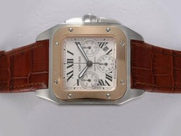 Fake Fancy Cartier Santos 100 Chronograph Asia Valjoux 7750 Movement Two Tone AAA Watches [U7M3]