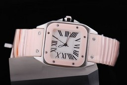 Fake Fancy Cartier Santos 100 Gold Case with White Dial- Pink Strap Lady Size AAA Watches [D5P7]