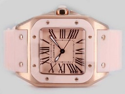 Fake Fancy Cartier Santos 100 Rose Gold Case with Pink Dial and Rubber Strap AAA Watches [I9P2]