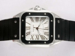 Fake Fancy Cartier Santos 100 White Dial with Black Bezel- Rubber Strap Lady Size AAA Watches [X7H4]
