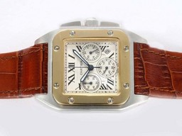 Fake Fancy Cartier Santos 100 Working Chronograph Two Tone with White Dial AAA Watches [N9U8]